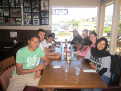The group waiting to eat at a local restaurant in Edmonds.