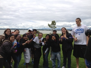 Indri celebrates being on the winning team at NWCCI field day in June 2012